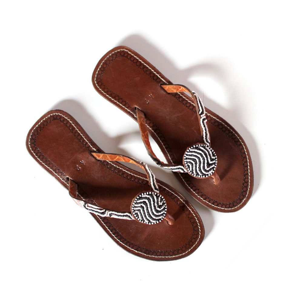 37a26085c8be Handmade African Beaded Sandals.AFRICAN BEADED FLAT HANDMADE LEATHER ...