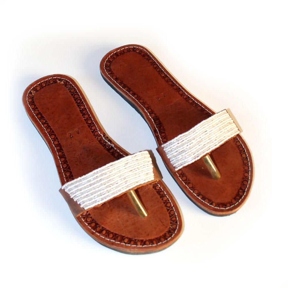 Beaded African Sandals Size 42 Black Malaika