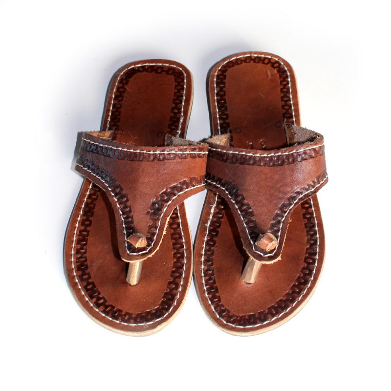 Kids African Leather Sandals - Size 34