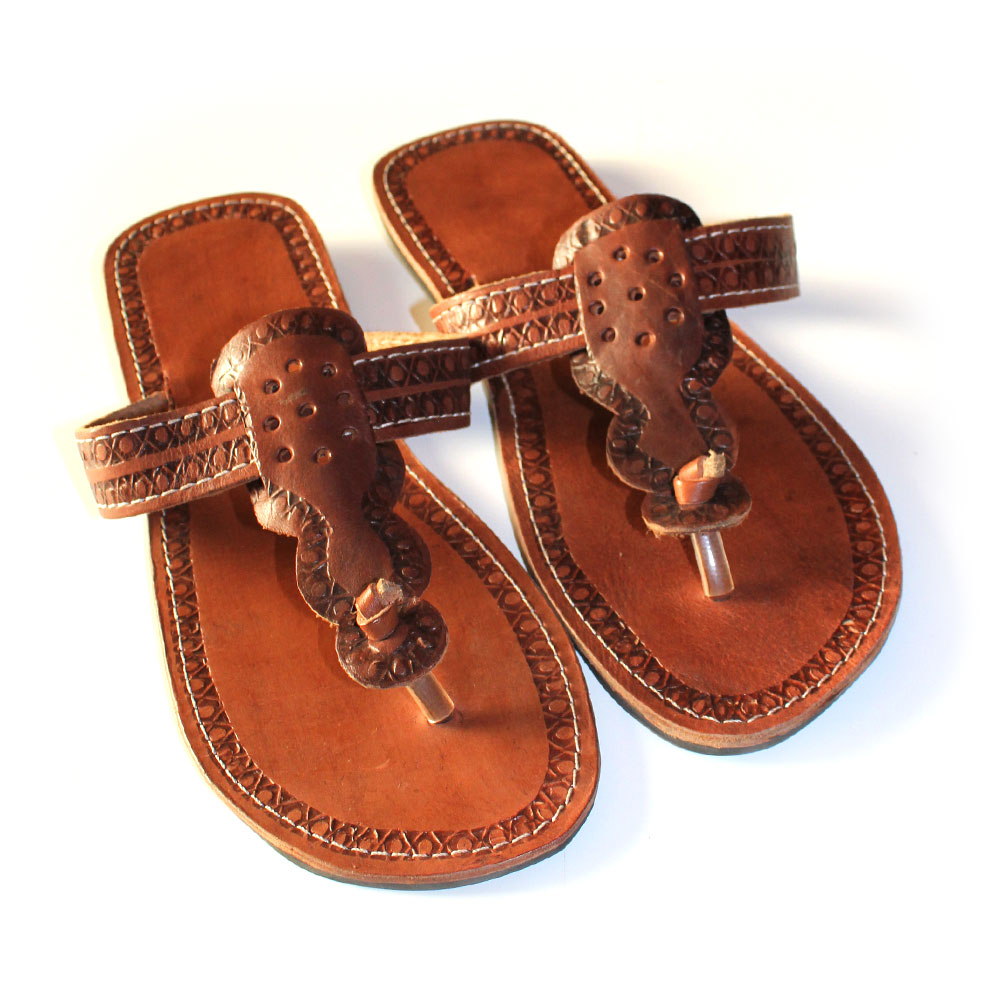 9e77caaba Beaded African Leather Sandals - Size 46
