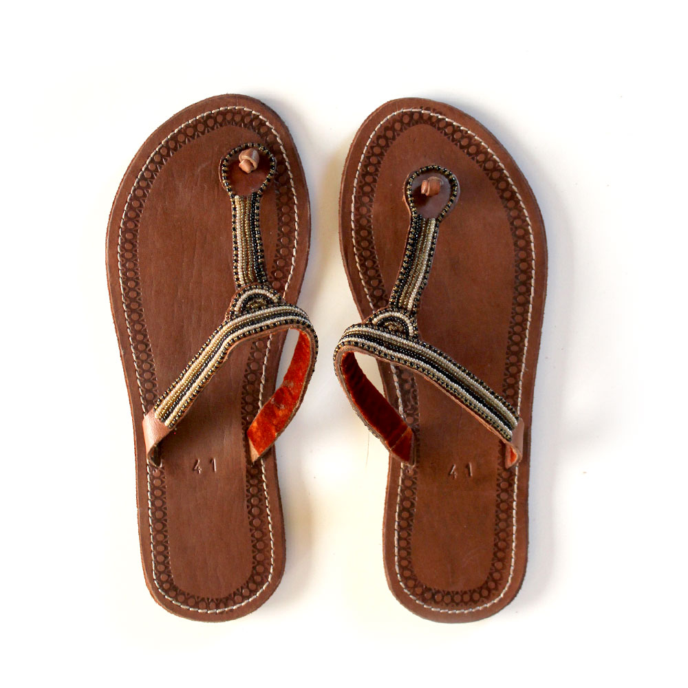 How To Read Tire Size >> African Beaded Sandals - Size 41 | Black Malaika