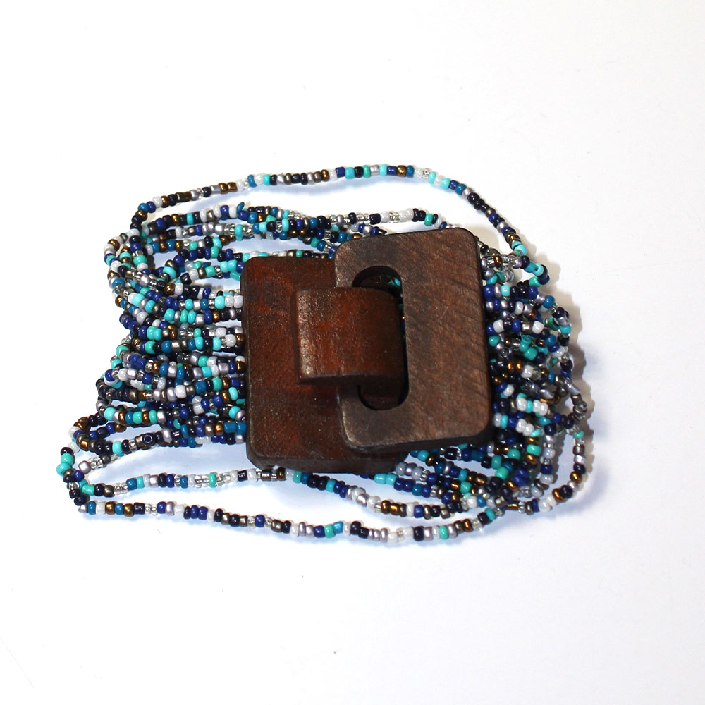 Blue Beads Bracelet With Wood Buckle Clasp.